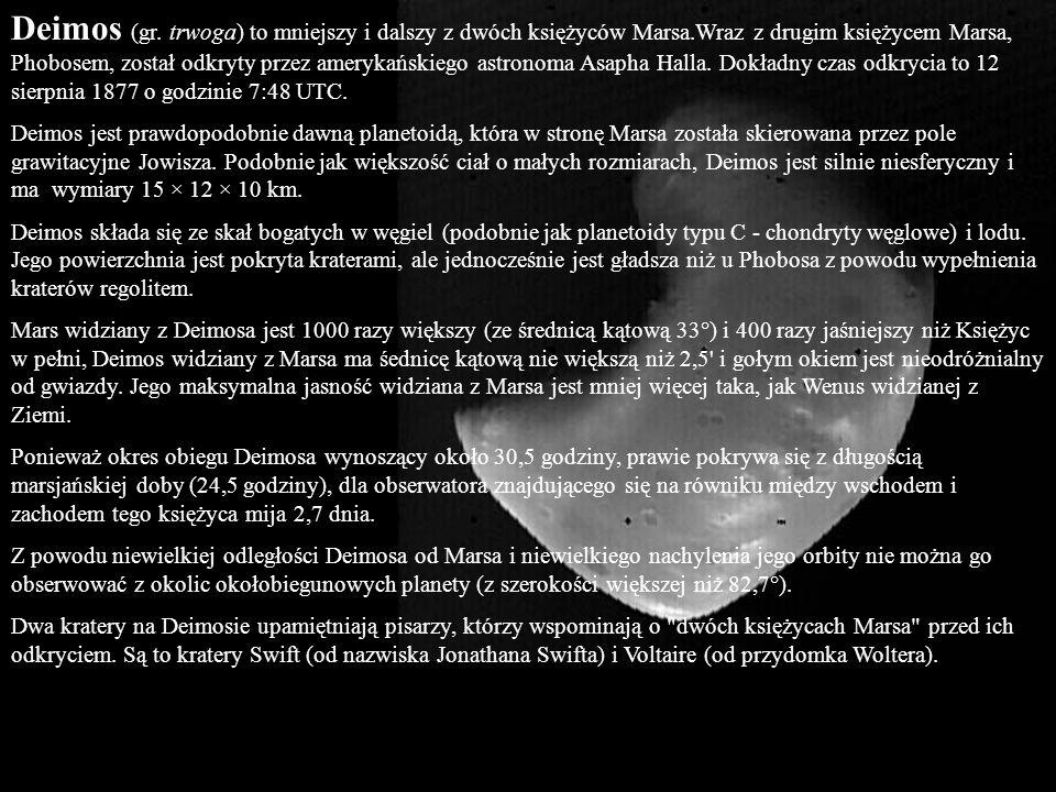 Deimos (gr. trwoga) to mniejszy i dalszy z dwóch księżyców Marsa.Wraz z drugim księżycem Marsa, Phobosem, został odkryty przez amerykańskiego astronom