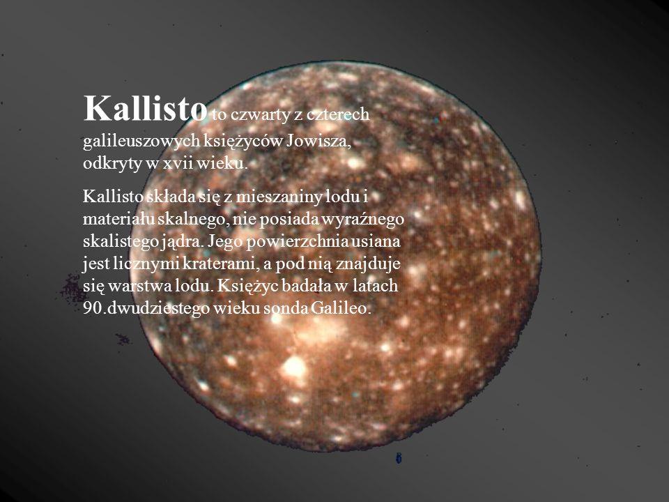 Kallisto to czwarty z czterech galileuszowych księżyców Jowisza, odkryty w xvii wieku. Kallisto składa się z mieszaniny lodu i materiału skalnego, nie