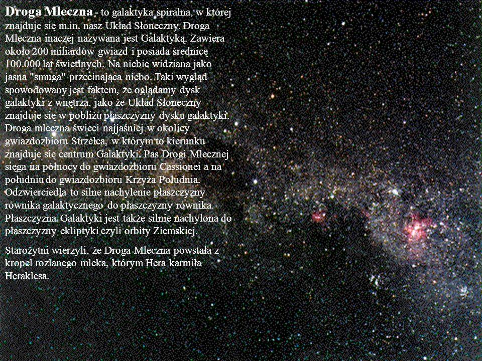 Droga Mleczna - to galaktyka spiralna, w której znajduje się m.in. nasz Układ Słoneczny. Droga Mleczna inaczej nazywana jest Galaktyką. Zawiera około