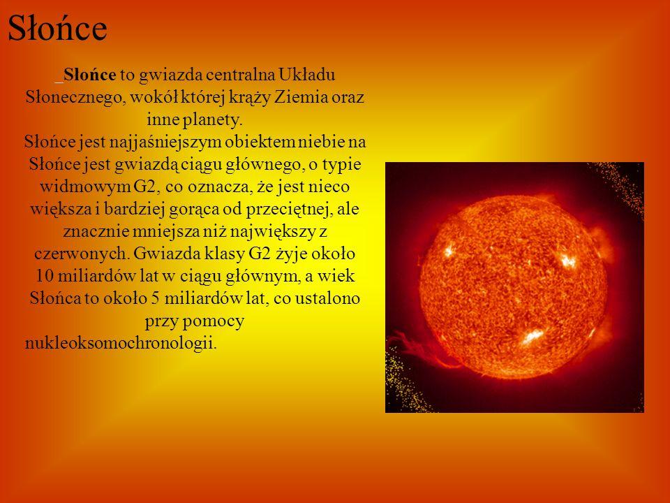 Słońce Słońce to gwiazda centralna Układu Słonecznego, wokół której krąży Ziemia oraz inne planety. Słońce jest najjaśniejszym obiektem niebie na Słoń