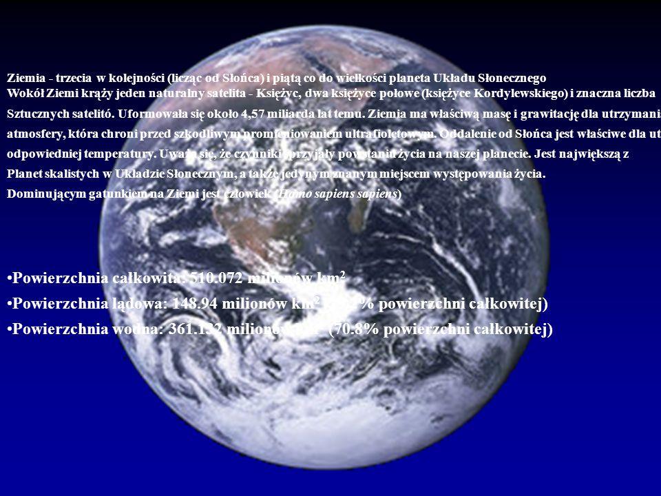 Ziemia - trzecia w kolejności (licząc od Słońca) i piątą co do wielkości planeta Układu Słonecznego Wokół Ziemi krąży jeden naturalny satelita - Księż