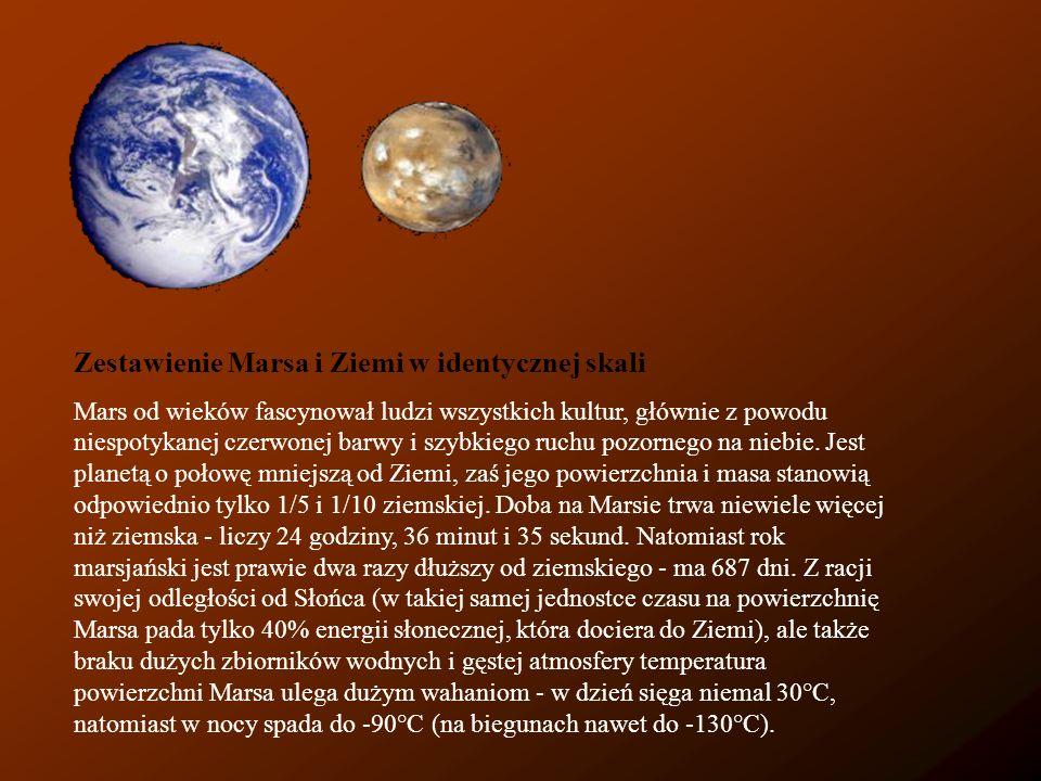 Zestawienie Marsa i Ziemi w identycznej skali Mars od wieków fascynował ludzi wszystkich kultur, głównie z powodu niespotykanej czerwonej barwy i szyb