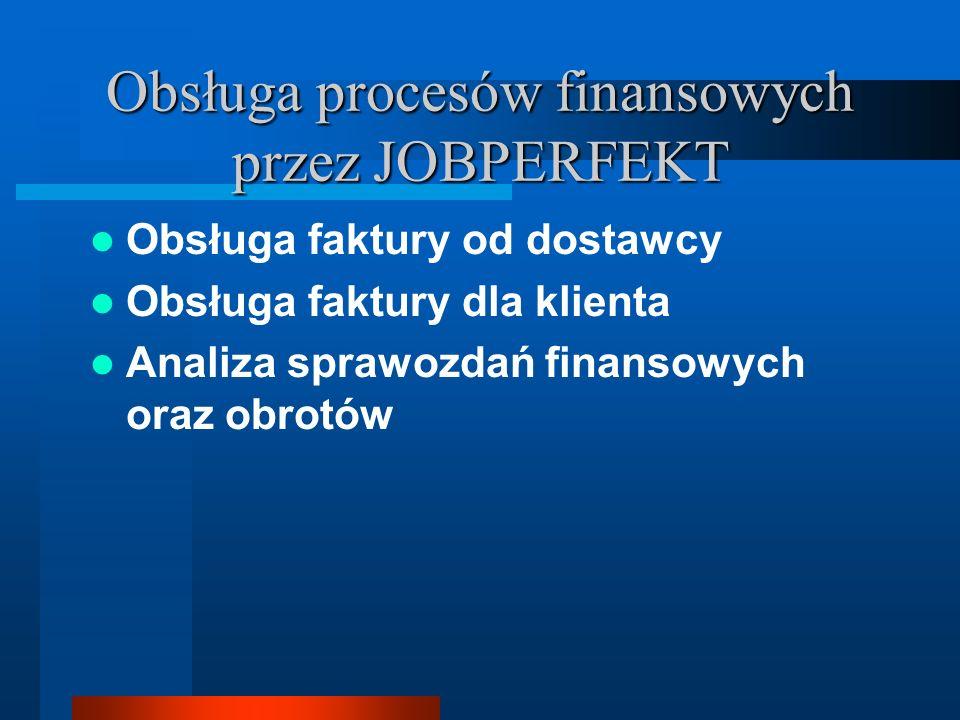 Obsługa procesów finansowych przez JOBPERFEKT Obsługa faktury od dostawcy Obsługa faktury dla klienta Analiza sprawozdań finansowych oraz obrotów