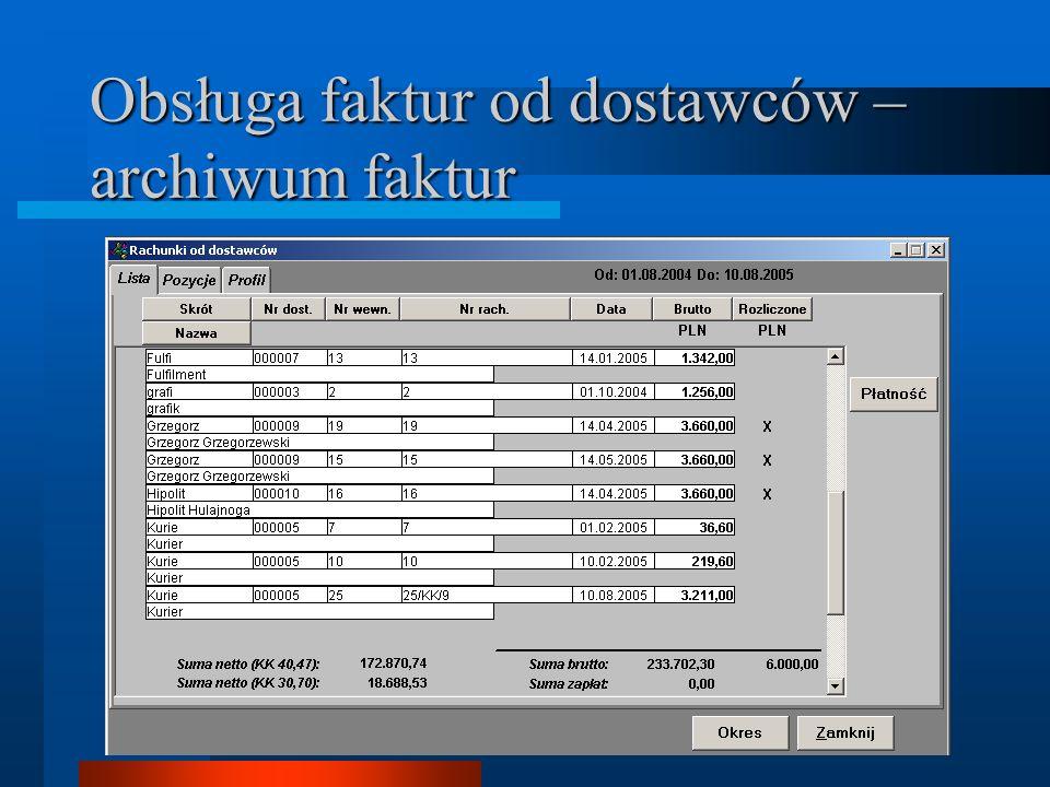 Obsługa faktur od dostawców – archiwum faktur