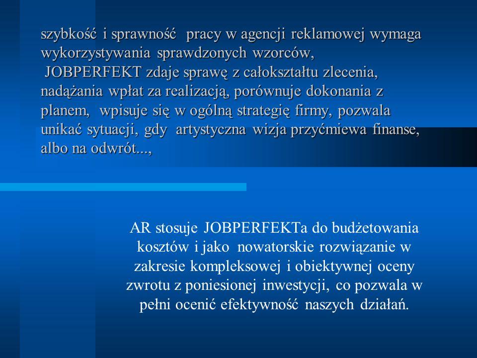 szybkość i sprawność pracy w agencji reklamowej wymaga wykorzystywania sprawdzonych wzorców, JOBPERFEKT zdaje sprawę z całokształtu zlecenia, nadążani