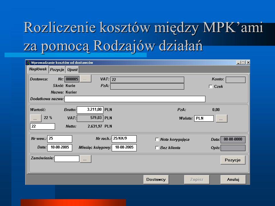 Rozliczenie kosztów między MPKami za pomocą Rodzajów działań