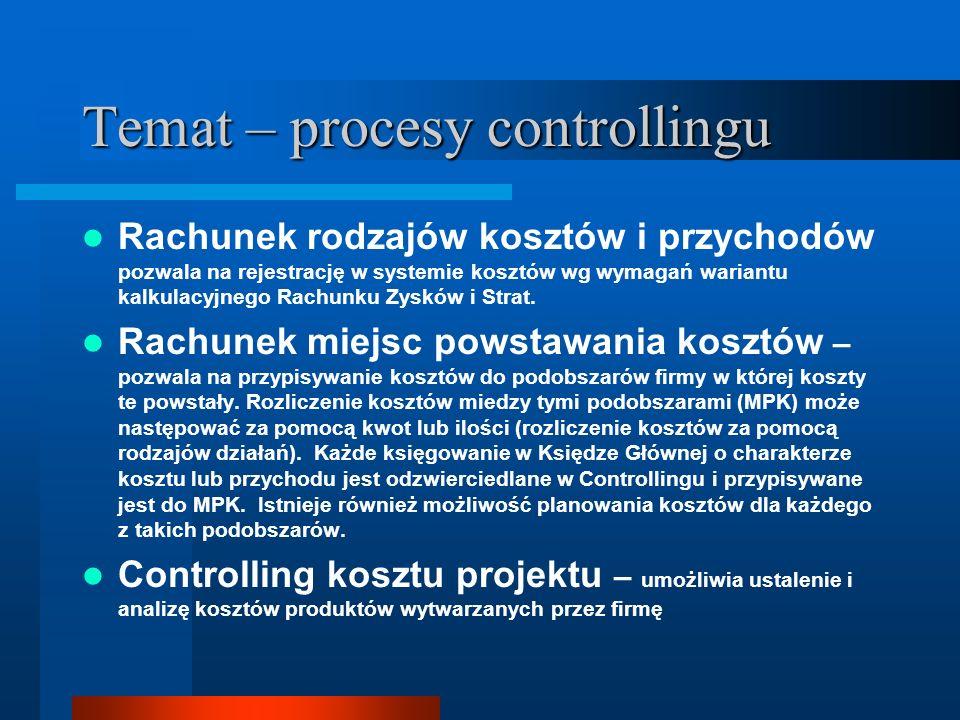 Temat – procesy controllingu Rachunek rodzajów kosztów i przychodów pozwala na rejestrację w systemie kosztów wg wymagań wariantu kalkulacyjnego Rachu