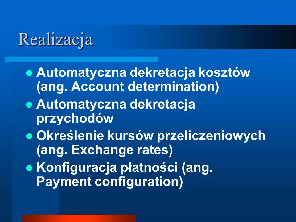 Realizacja Automatyczna dekretacja kosztów (ang. Account determination) Automatyczna dekretacja przychodów Określenie kursów przeliczeniowych (ang. Ex