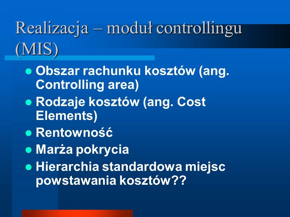 Realizacja – moduł controllingu (MIS) Obszar rachunku kosztów (ang. Controlling area) Rodzaje kosztów (ang. Cost Elements) Rentowność Marża pokrycia H