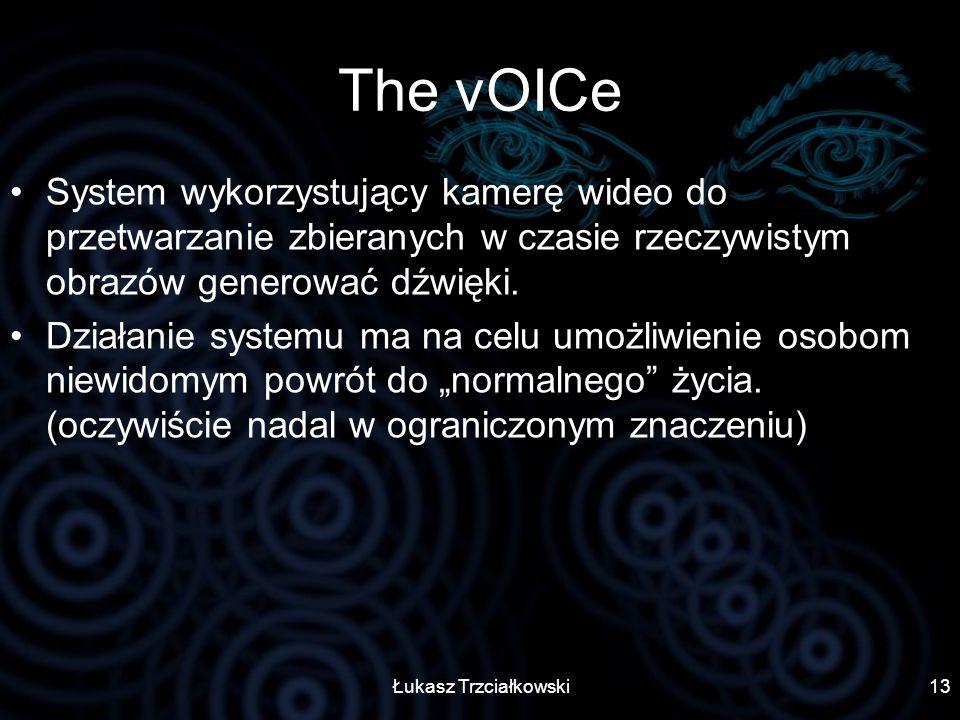 Łukasz Trzciałkowski13 The vOICe System wykorzystujący kamerę wideo do przetwarzanie zbieranych w czasie rzeczywistym obrazów generować dźwięki. Dział