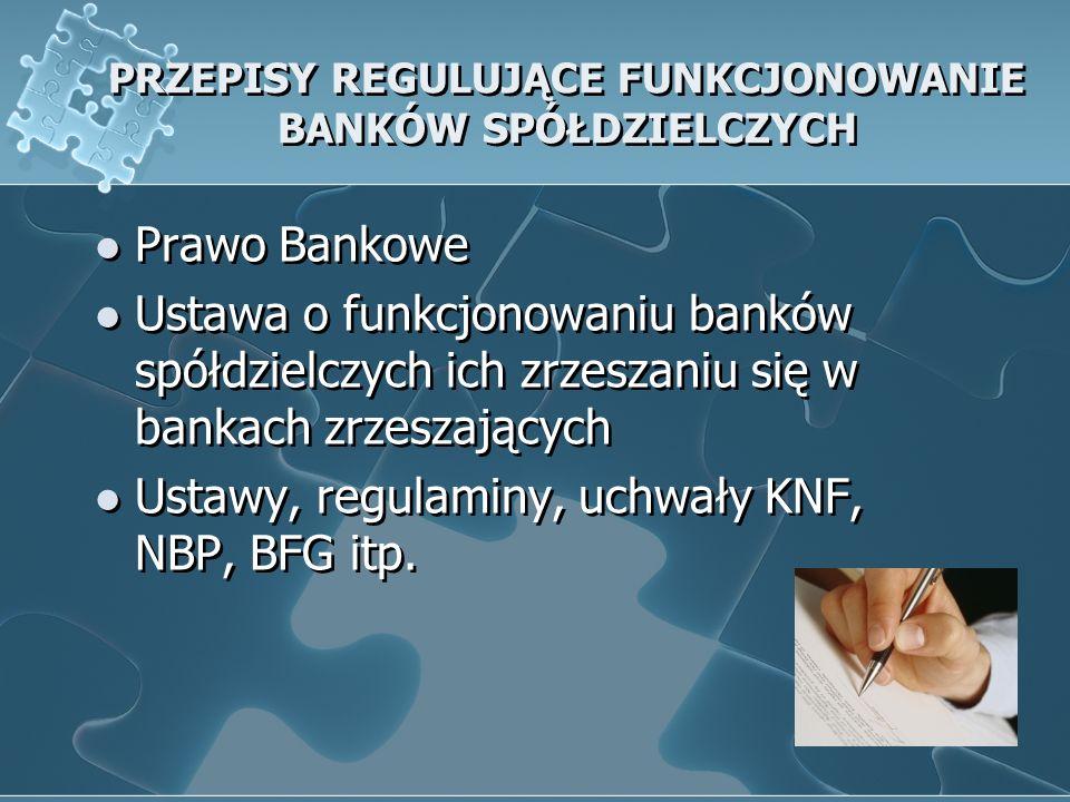 PRZEPISY REGULUJĄCE FUNKCJONOWANIE BANKÓW SPÓŁDZIELCZYCH Prawo Bankowe Ustawa o funkcjonowaniu banków spółdzielczych ich zrzeszaniu się w bankach zrzeszających Ustawy, regulaminy, uchwały KNF, NBP, BFG itp.