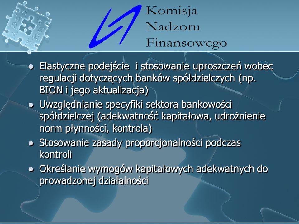Elastyczne podejście i stosowanie uproszczeń wobec regulacji dotyczących banków spółdzielczych (np.