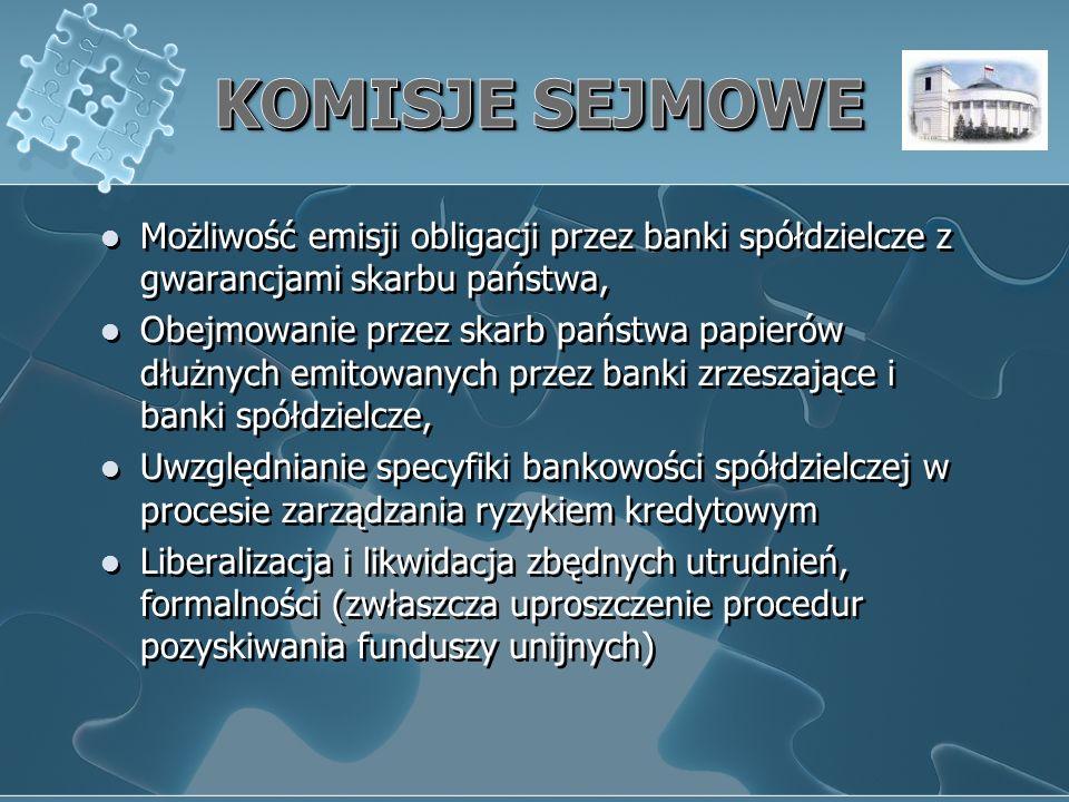 Możliwość emisji obligacji przez banki spółdzielcze z gwarancjami skarbu państwa, Obejmowanie przez skarb państwa papierów dłużnych emitowanych przez banki zrzeszające i banki spółdzielcze, Uwzględnianie specyfiki bankowości spółdzielczej w procesie zarządzania ryzykiem kredytowym Liberalizacja i likwidacja zbędnych utrudnień, formalności (zwłaszcza uproszczenie procedur pozyskiwania funduszy unijnych) Możliwość emisji obligacji przez banki spółdzielcze z gwarancjami skarbu państwa, Obejmowanie przez skarb państwa papierów dłużnych emitowanych przez banki zrzeszające i banki spółdzielcze, Uwzględnianie specyfiki bankowości spółdzielczej w procesie zarządzania ryzykiem kredytowym Liberalizacja i likwidacja zbędnych utrudnień, formalności (zwłaszcza uproszczenie procedur pozyskiwania funduszy unijnych)