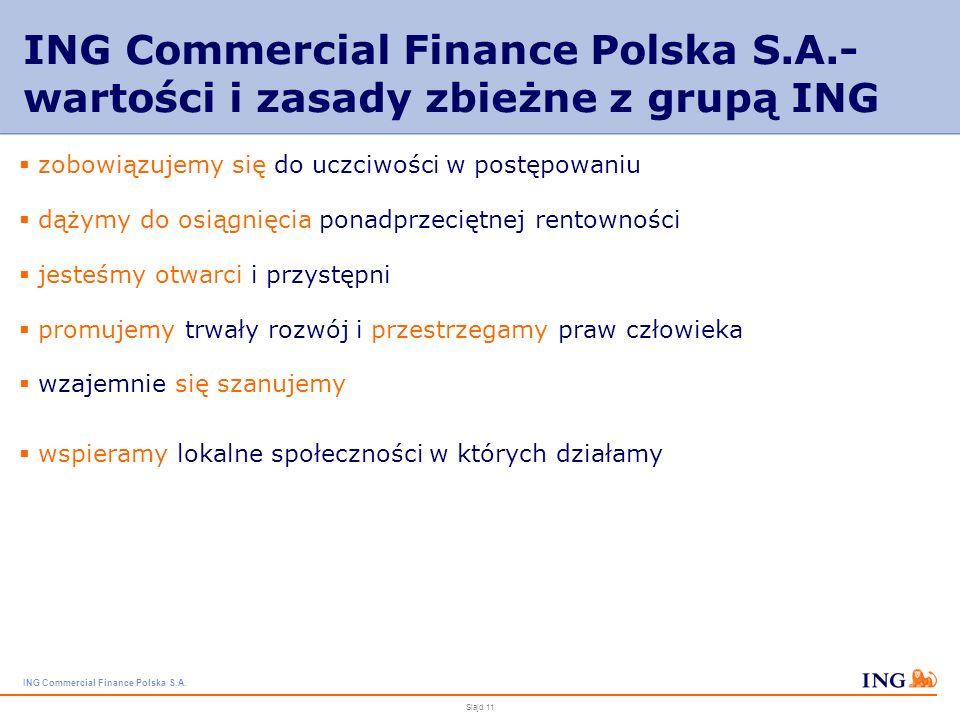 ING Commercial Finance Polska S.A. Slajd 10 Główne założenia strategii personalnej w ING Commercial Finance Polska S.A. firma przyjazna pracownikom –