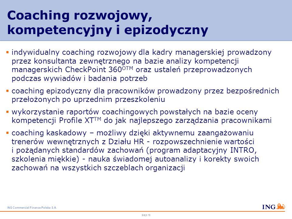 ING Commercial Finance Polska S.A. Slajd 17 Szkolenia specjalistyczne i produktowe szkolenia dla księgowości, działu kontrolingu Ocena ryzyka finansow