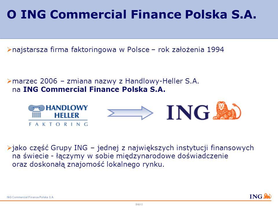 ING Commercial Finance Polska S.A.Slajd 2 O ING Commercial Finance Polska S.A.