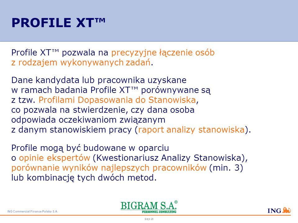 ING Commercial Finance Polska S.A. Slajd 25 Czy kandydat/pracownik ma umiejętności, które pozwolą mu na efektywne wykonywanie danej pracy? – profil st