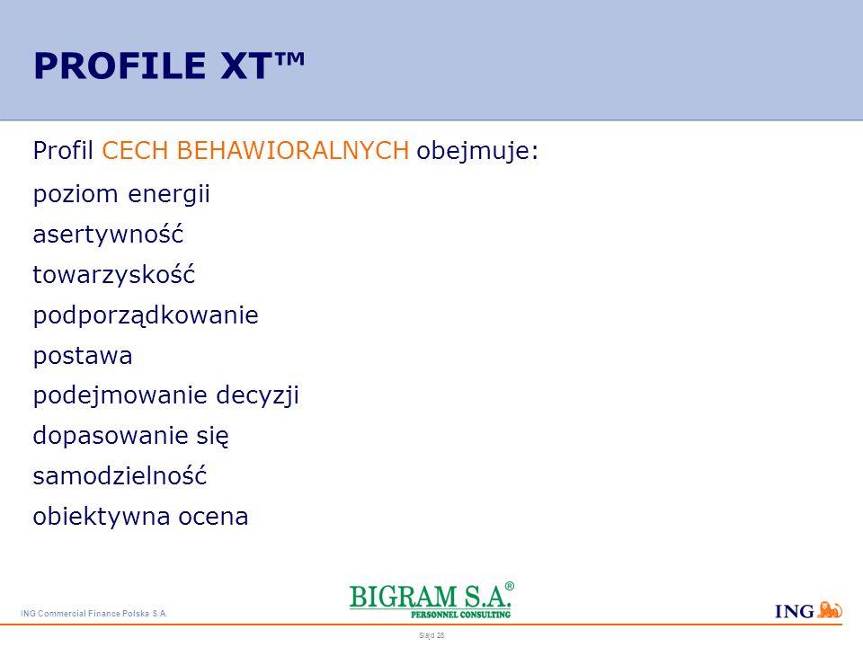 ING Commercial Finance Polska S.A. Slajd 27 PROFILE XT Profil STYLU MYŚLENIA obejmuje: wskaźnik uczenia się zasób słownictwa myślenie werbalne umiejęt