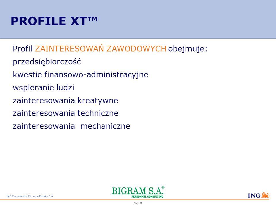 ING Commercial Finance Polska S.A. Slajd 28 PROFILE XT Profil CECH BEHAWIORALNYCH obejmuje: poziom energii asertywność towarzyskość podporządkowanie p
