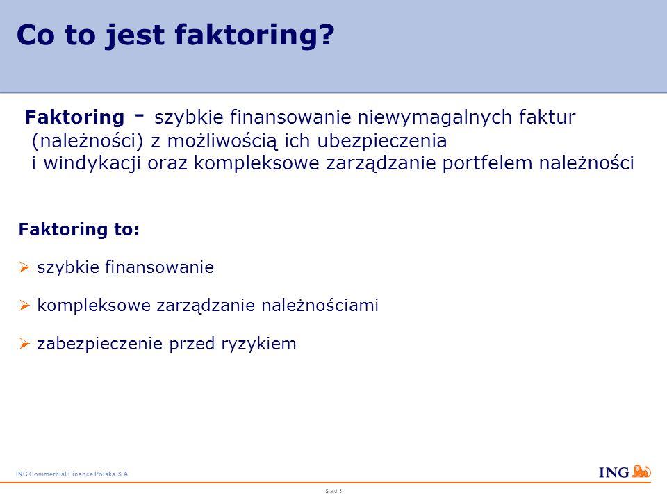 ING Commercial Finance Polska S.A. Slajd 2 O ING Commercial Finance Polska S.A. najstarsza firma faktoringowa w Polsce – rok założenia 1994 marzec 200