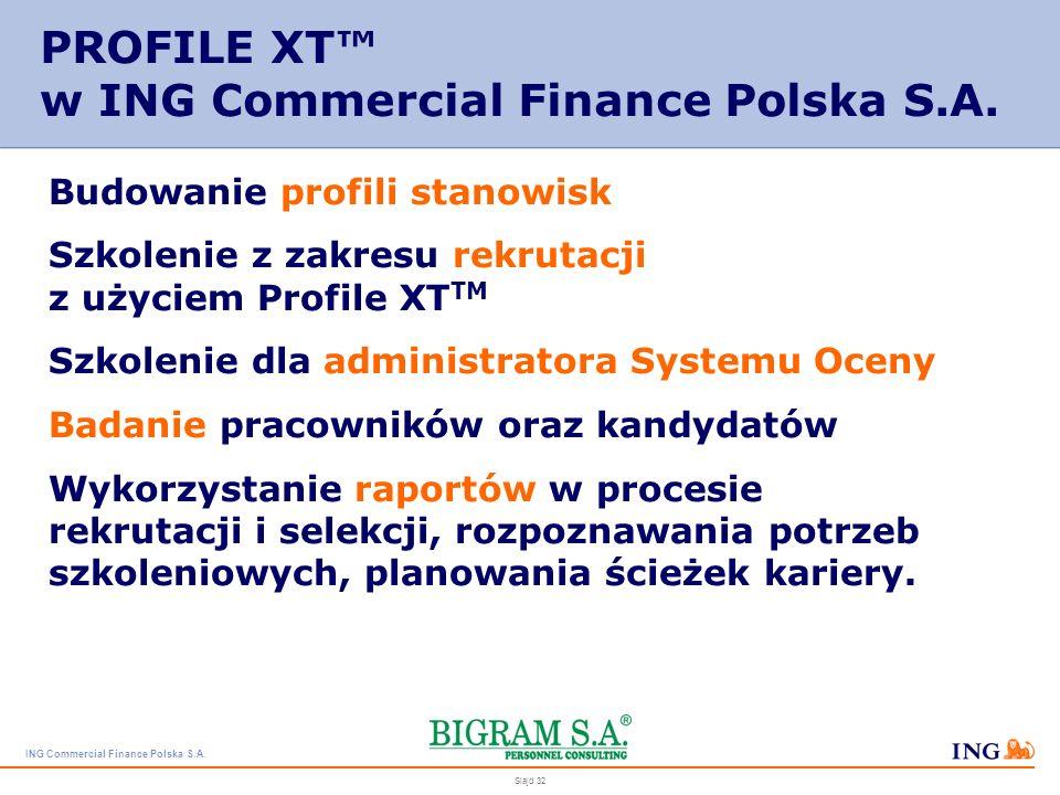 ING Commercial Finance Polska S.A. Slajd 31 PROFILE XT RAPORT COACHINGOWY – przewodnik menedżera, dzięki któremu może on pomagać zarządzanym przez sie