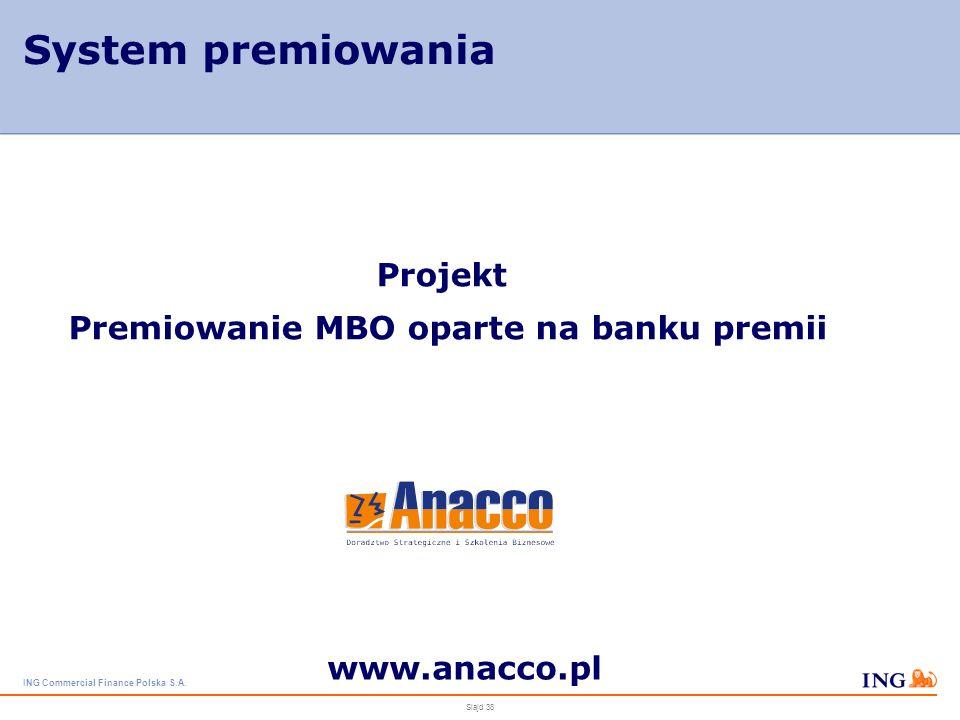 ING Commercial Finance Polska S.A. Slajd 37 Badanie kompetencji kadry menedżerskiej Rozmowy feedbackowe – koncentracja na rozwoju Wykorzystanie wynikó