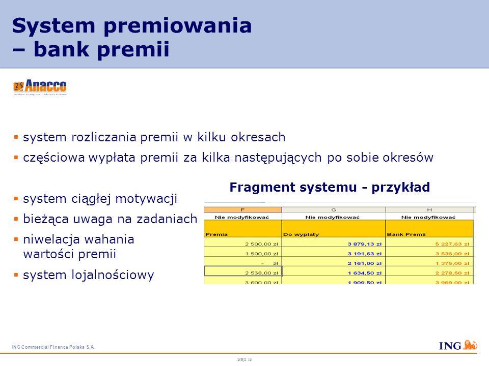 ING Commercial Finance Polska S.A. Slajd 44 System premiowania – wartość premii określenie grupy uprawnionej i poziomu uprawnienia określone wielkości