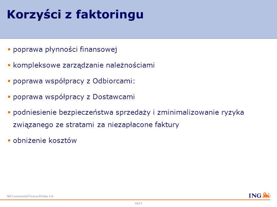 ING Commercial Finance Polska S.A. Slajd 4 Dla kogo faktoring? Faktoring to najlepsze rozwiązanie dla firm, które: dynamicznie się rozwijają i mają du
