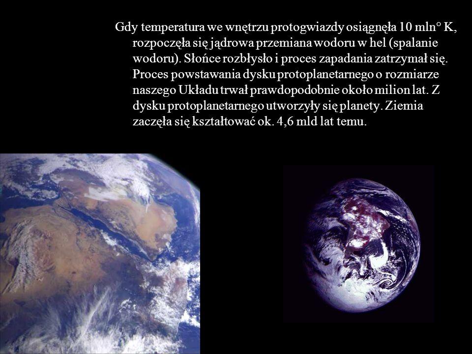 Gdy temperatura we wnętrzu protogwiazdy osiągnęła 10 mln° K, rozpoczęła się jądrowa przemiana wodoru w hel (spalanie wodoru). Słońce rozbłysło i proce