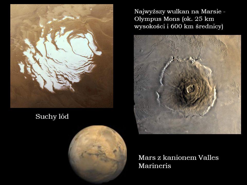 Najwyższy wulkan na Marsie - Olympus Mons (ok. 25 km wysokości i 600 km średnicy) Suchy lód Mars z kanionem Valles Marineris