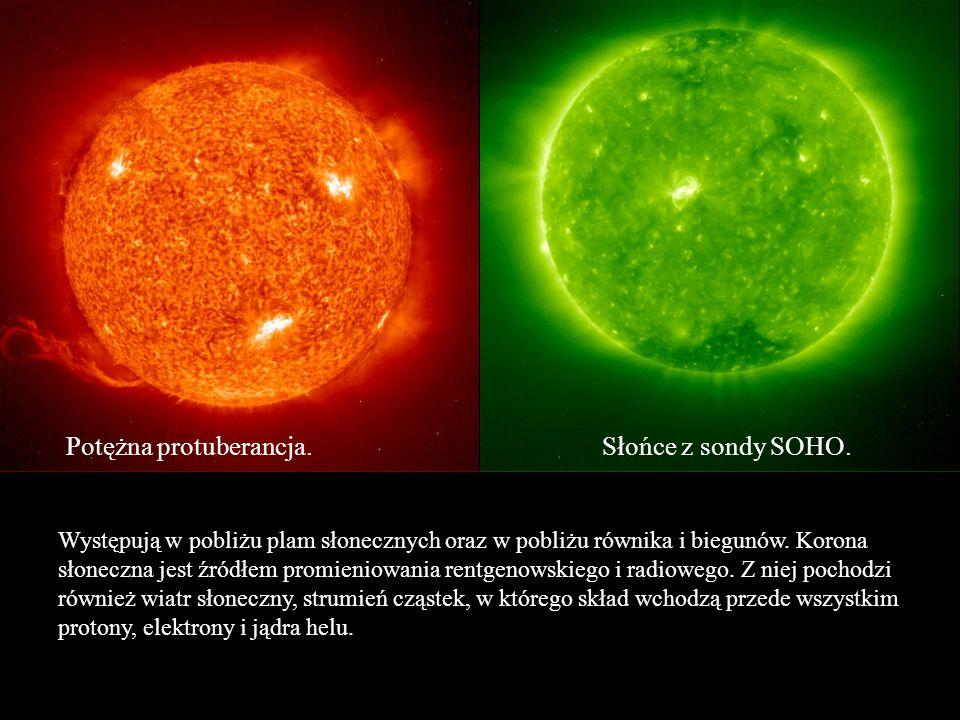 Potężna protuberancja.Słońce z sondy SOHO. Występują w pobliżu plam słonecznych oraz w pobliżu równika i biegunów. Korona słoneczna jest źródłem promi