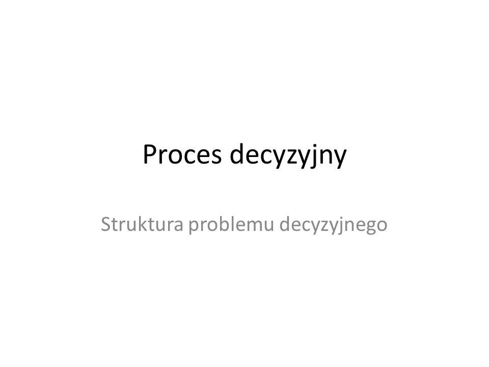 Proces decyzyjny Struktura problemu decyzyjnego
