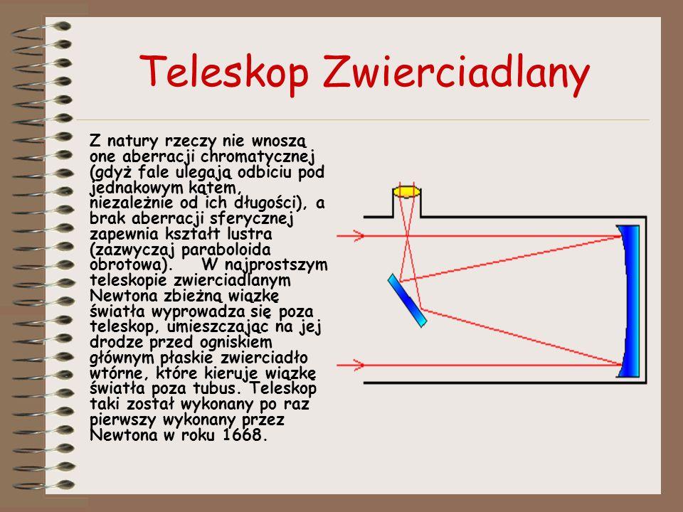 Teleskop Zwierciadlany Z natury rzeczy nie wnoszą one aberracji chromatycznej (gdyż fale ulegają odbiciu pod jednakowym kątem, niezależnie od ich dług