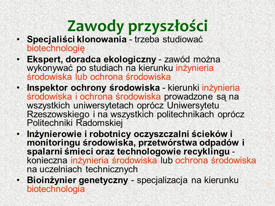 Zawody przyszłości Technolog zasobów morza - zbliżone specjalizacje prowadzi Uniwersytet Wrocławski, uniwersytet Śląski, Politechnika Śląska, AGH w Krakowie Oficer unijny - osoba odpowiedzialna za zdobywanie dla samorządów unijnych funduszy na rozwój.