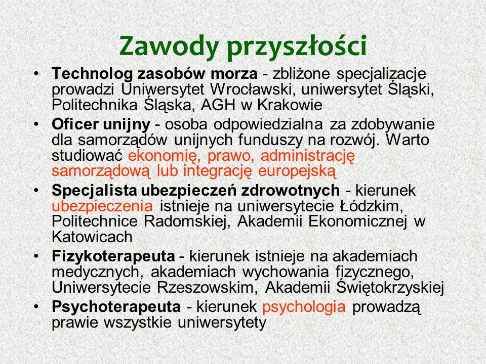Zawody przyszłości Technolog zasobów morza - zbliżone specjalizacje prowadzi Uniwersytet Wrocławski, uniwersytet Śląski, Politechnika Śląska, AGH w Kr
