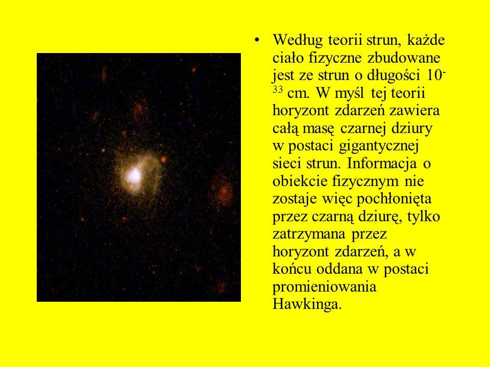 Kluczem do rozwiązania tej zagadki może być teoria strun i kwantowa teoria grawitacji. Istnieje hipoteza mówiąca o tym, że dla obserwatora zewnętrzneg