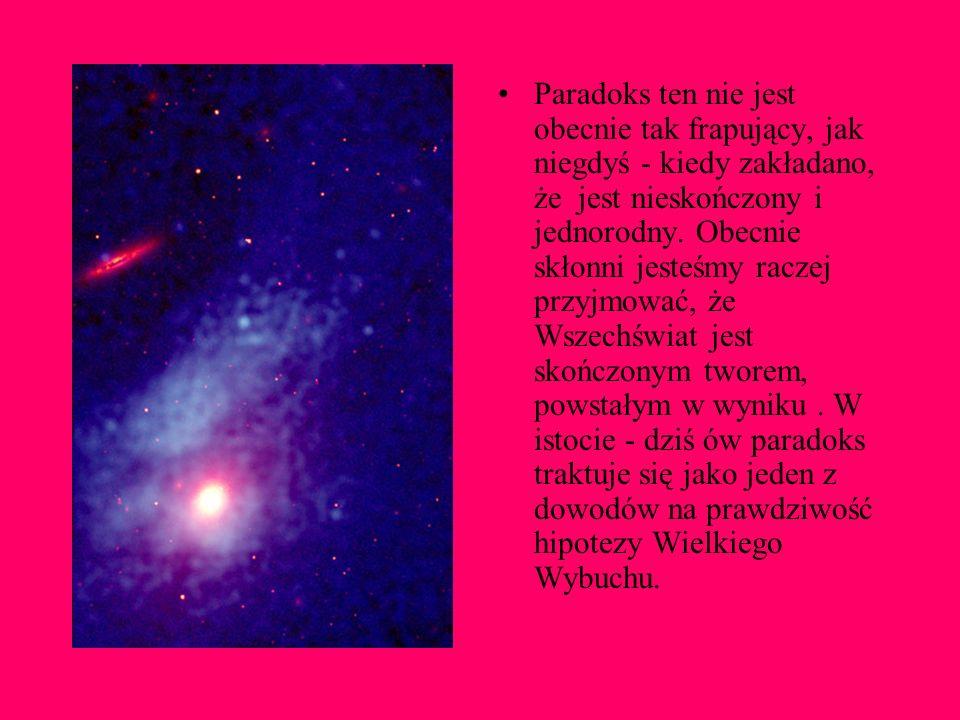 Paradoks Olbersa brzmi następująco: Dlaczego w nocy niebo jest ciemne, skoro patrząc w każdym kierunku patrzę na jakąś gwiazdę?