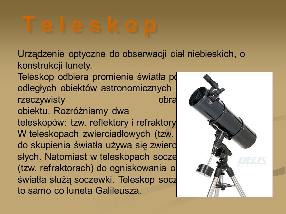 Urządzenie optyczne do obserwacji ciał niebieskich, o konstrukcji lunety. Teleskop odbiera promienie światła pochodzące z odległych obiektów astronomi