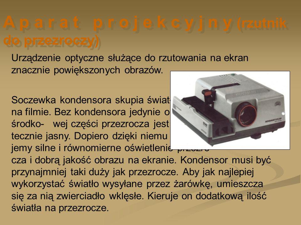 Urządzenie optyczne służące do rzutowania na ekran znacznie powiększonych obrazów. Soczewka kondensora skupia światło lampy na filmie. Bez kondensora