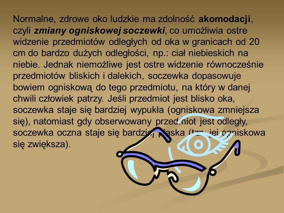 Człowiek mający zdrowe oczy, gdy chce przeczytać drukowany tekst lub obejrzeć niewielkie szczegóły, bezwiednie umieszcza oglądany przedmiot w odległości ok..