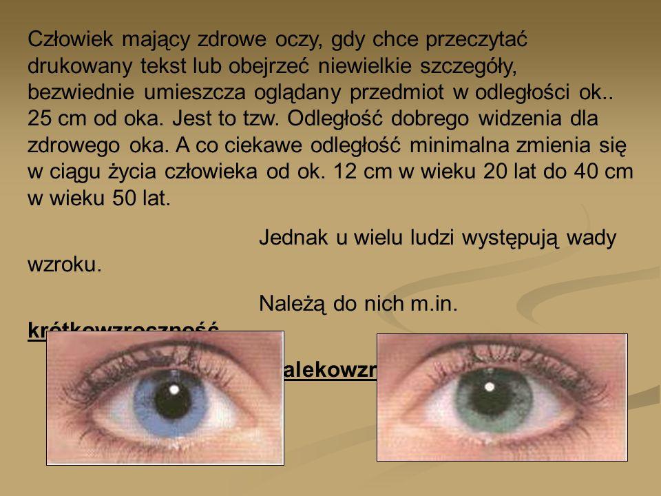 Człowiek mający zdrowe oczy, gdy chce przeczytać drukowany tekst lub obejrzeć niewielkie szczegóły, bezwiednie umieszcza oglądany przedmiot w odległoś