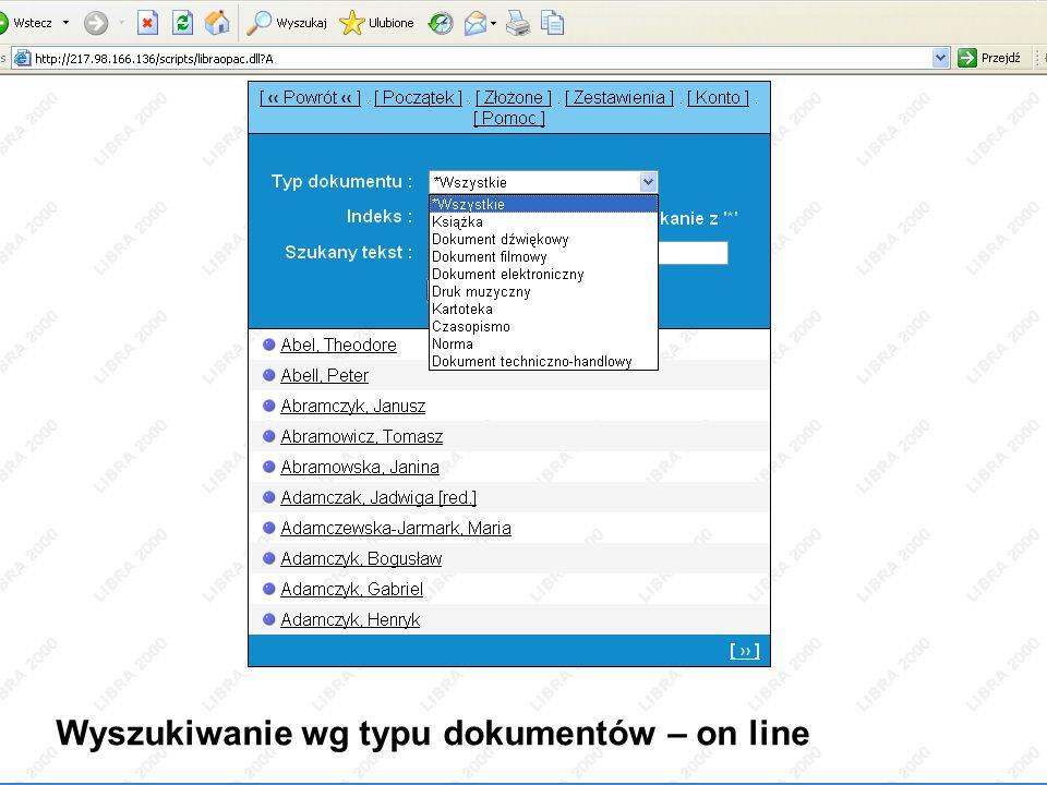 Indeks alfabetyczny – on line