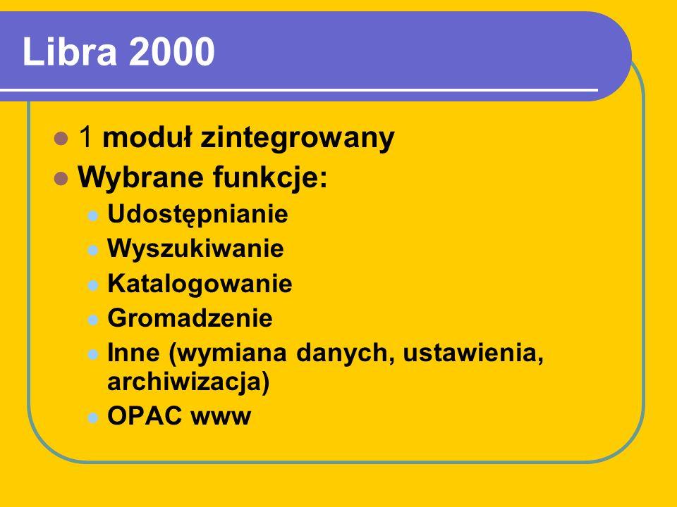 Informacje dot. bazy Zmiany lokalizacji bazy: program MOL; program Libra (DOS), program Libra 2000 Licencja zbiorowa dla filii PBP w Poznaniu Producen