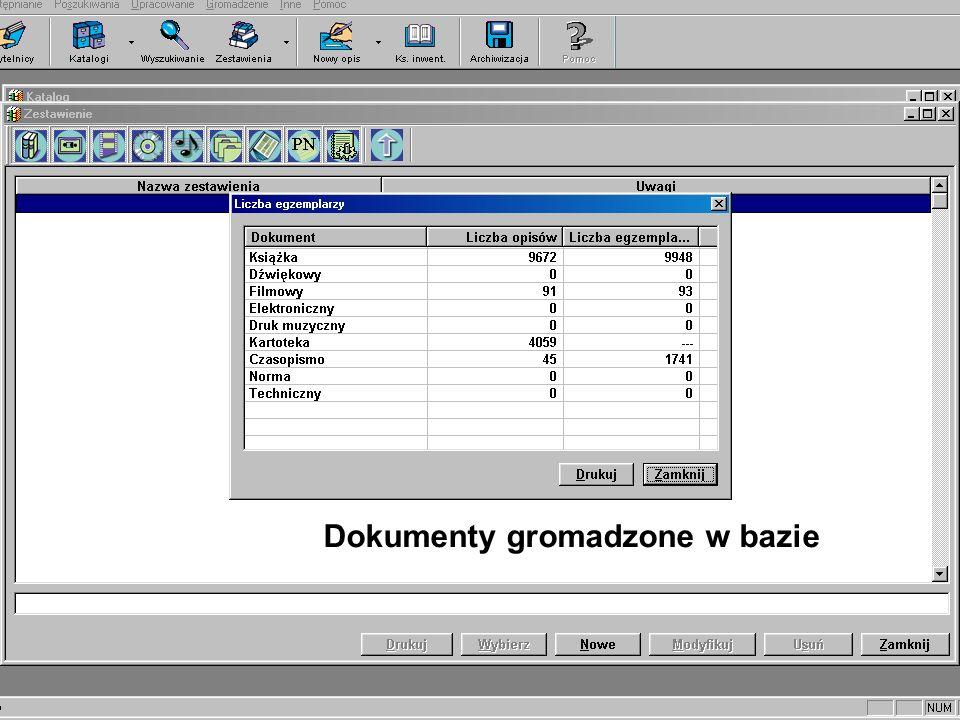Skład bazy danych programu Libra 2000 Indeks książek i zbiorów specjalnych Słowniki haseł wzorcowych (formalnych i przedmiotowych) Kartoteka zagadnien
