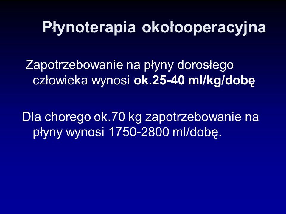 Płynoterapia okołooperacyjna Zapotrzebowanie na płyny dorosłego człowieka wynosi ok.25-40 ml/kg/dobę Dla chorego ok.70 kg zapotrzebowanie na płyny wyn