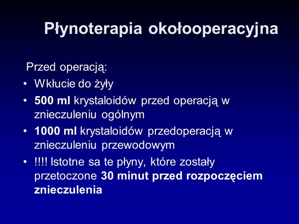 Płynoterapia okołooperacyjna Przed operacją: Wkłucie do żyły 500 ml krystaloidów przed operacją w znieczuleniu ogólnym 1000 ml krystaloidów przedopera