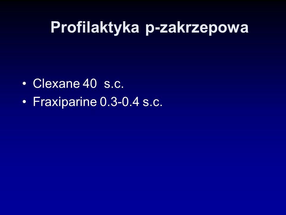 Profilaktyka p-zakrzepowa Clexane 40 s.c. Fraxiparine 0.3-0.4 s.c.