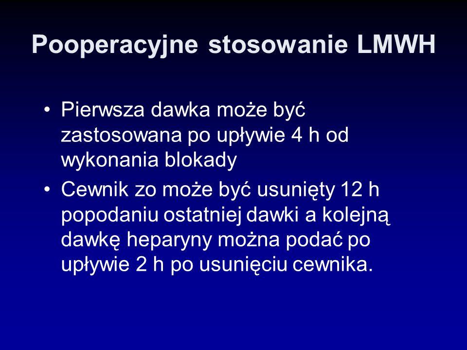 Pooperacyjne stosowanie LMWH Pierwsza dawka może być zastosowana po upływie 4 h od wykonania blokady Cewnik zo może być usunięty 12 h popodaniu ostatn
