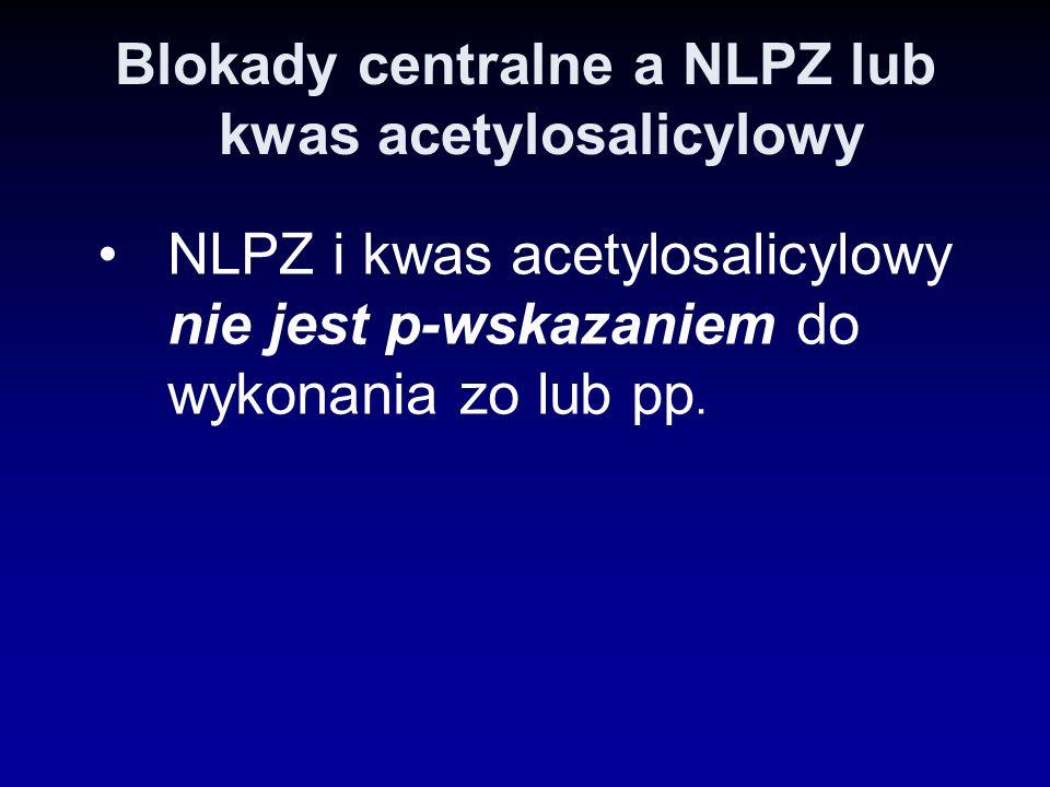 Blokady centralne a NLPZ lub kwas acetylosalicylowy NLPZ i kwas acetylosalicylowy nie jest p-wskazaniem do wykonania zo lub pp.