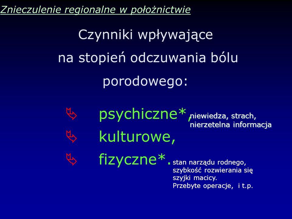 Czynniki wpływające na stopień odczuwania bólu porodowego: Znieczulenie regionalne w położnictwie psychiczne*, kulturowe, fizyczne*. niewiedza, strach